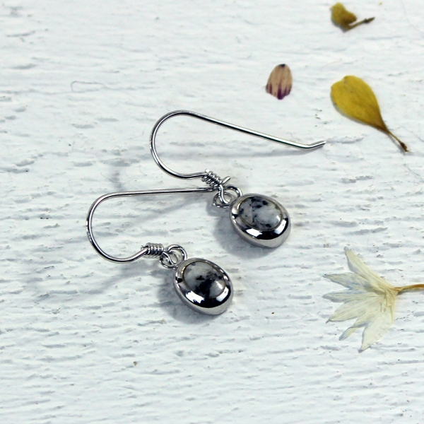 Granite Oval Drop Earrings - Silver