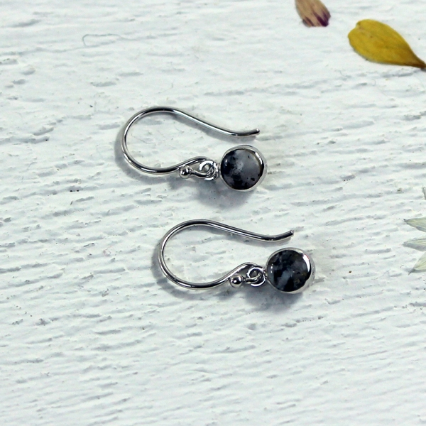 Granite Drop Earrings - Silver