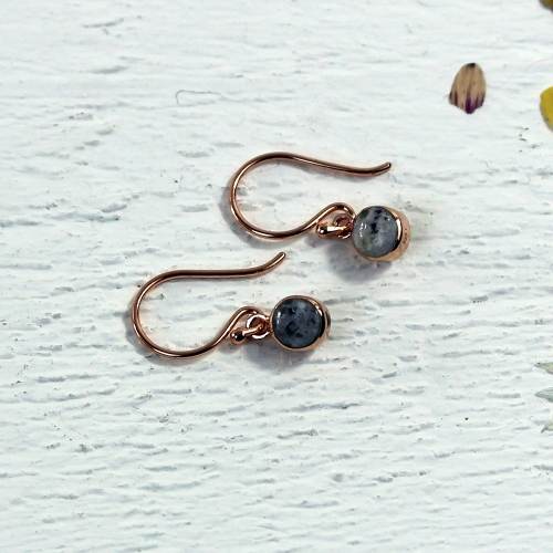 Granite Drop Earrings - Rose Gold