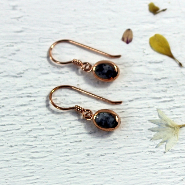 Granite Oval Drop Earrings - Rose gold