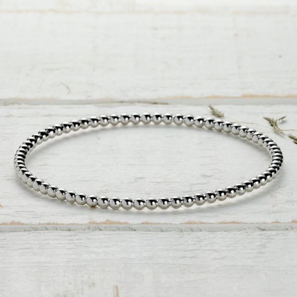 Newlyn Bobble Bangle - silver