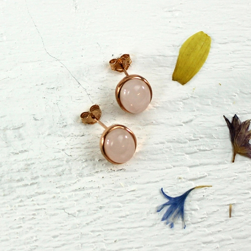 Kelester Stud Earrings - rose quartz