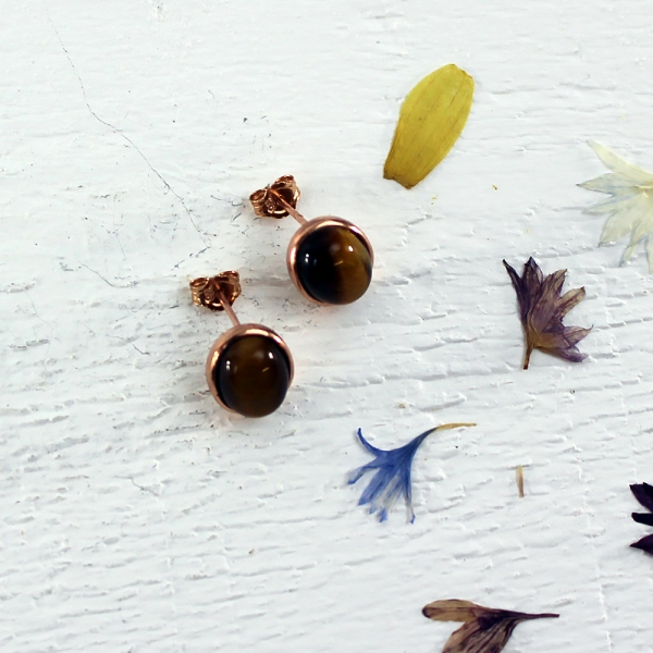 Kelester Stud Earrings - tigers eye
