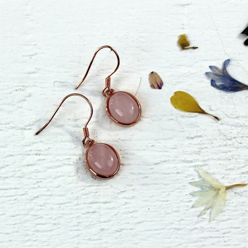 Kelester Drop Earrings - rose quartz