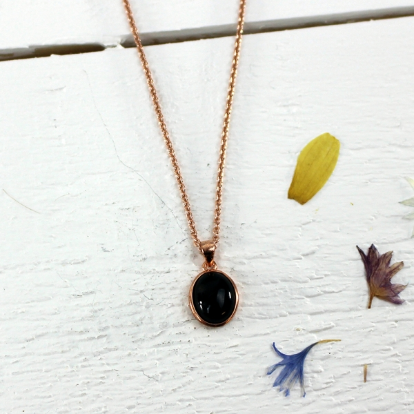 Kelester Pendant and Chain - black agate