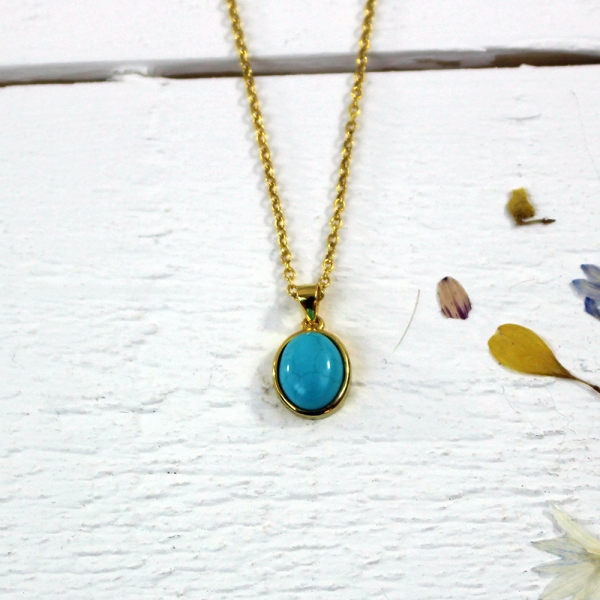 Kelester Pendant and Chain - turquoise