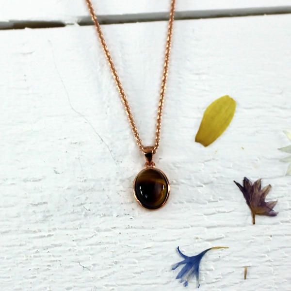 Kelester Pendant and Chain - tigers eye