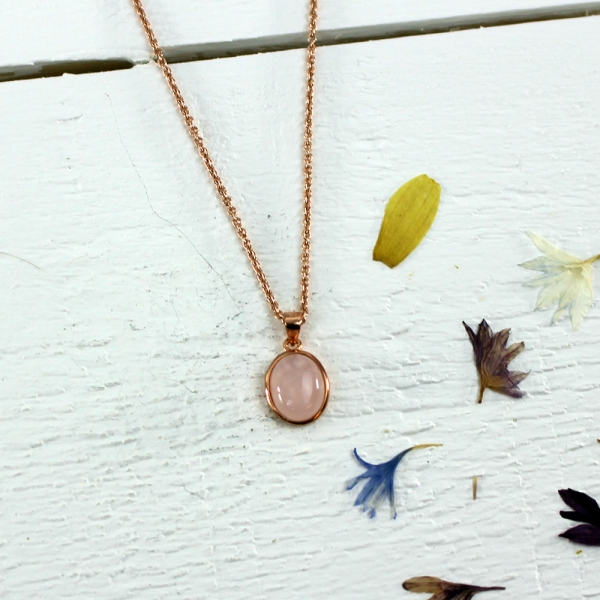 Kelester Pendant and Chain - rose quartz