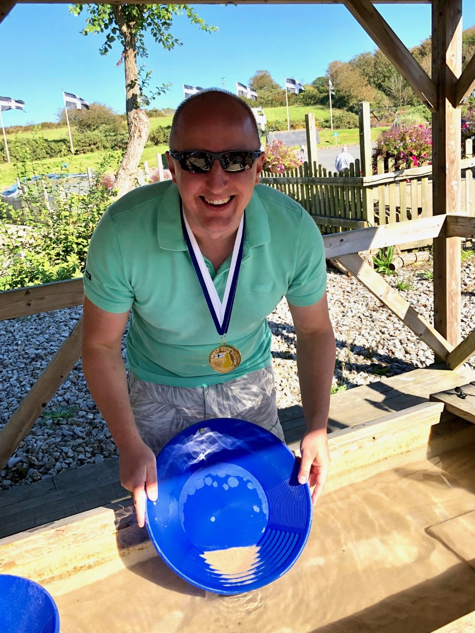 James Linnett, World Gold Panning Champion, at Cornwall Gold