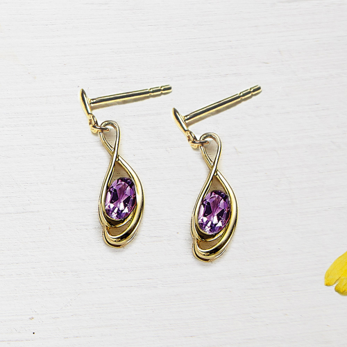 Tamara drop earings - amethyst