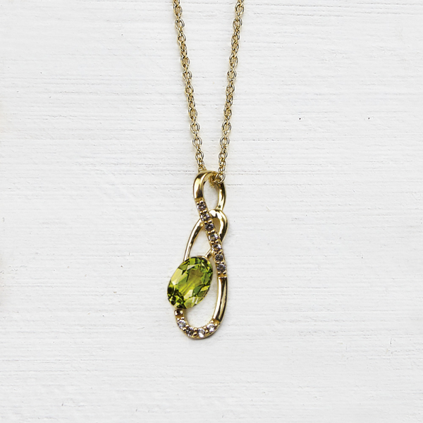Tamara Pendant - peridot and white topaz