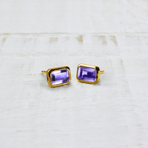Studs Rectangle - amethyst