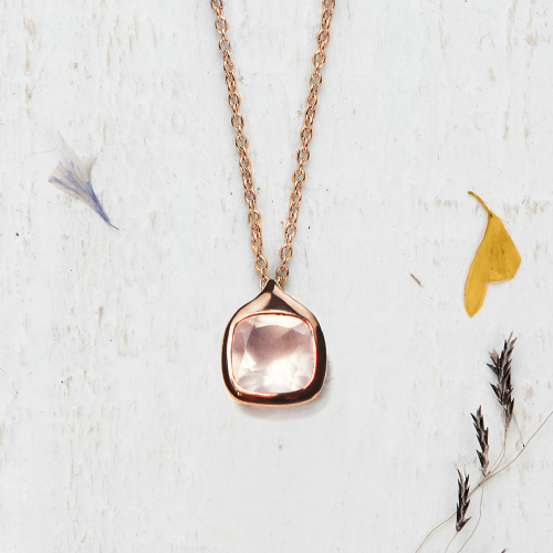 Pendant Square - rose quartz
